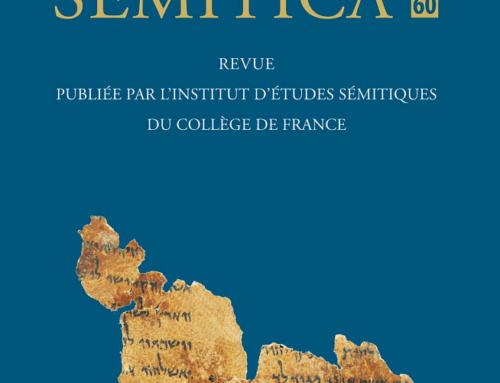 Semitica 60 vient de paraître