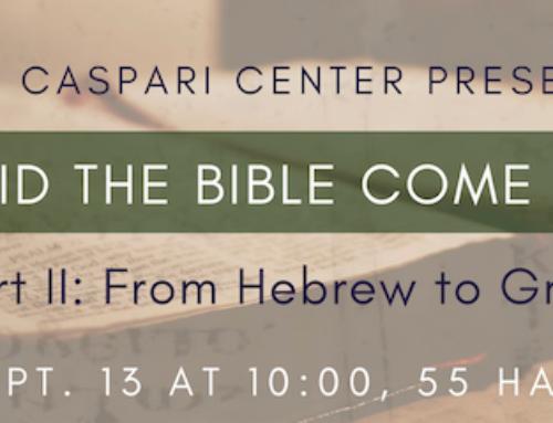 Conférence : Naissance de la Bible grecque et du christianisme