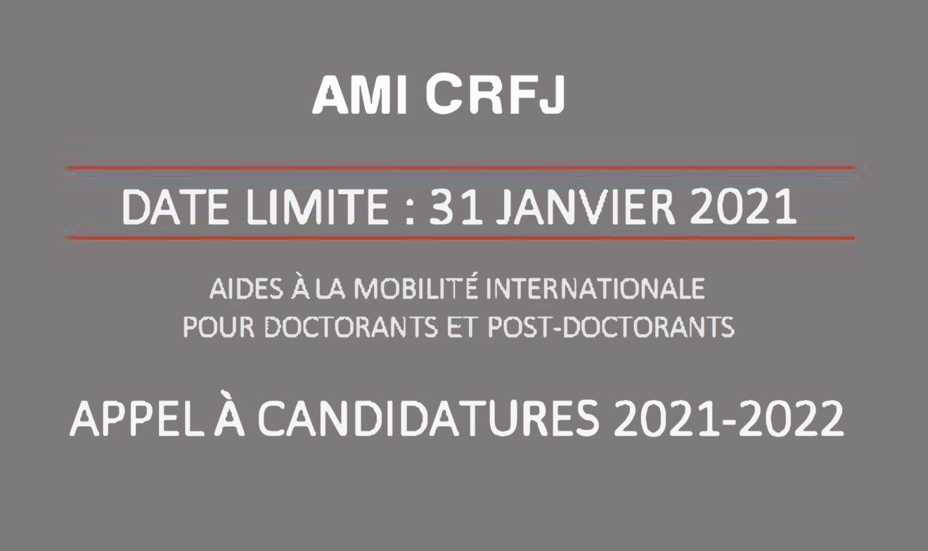 APPEL À CANDIDATURES : Aide à la mobilité internationale (AMI) CRFJ 2021-2022 (date limite 31 janvier 2021)