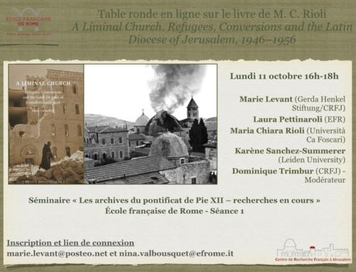TABLE-RONDE (ZOOM) autour du livre de Maria-Chiara Rioli (lundi 11 octobre 2021)